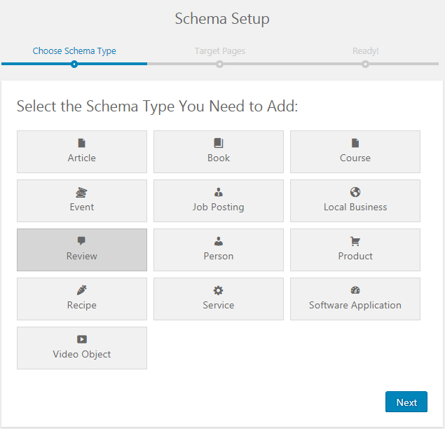 select review schema type